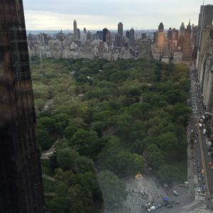 Hotel room view of Central Park in NYC